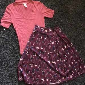 Other - 2pc Set Mauve pink tip with circle floral skirt